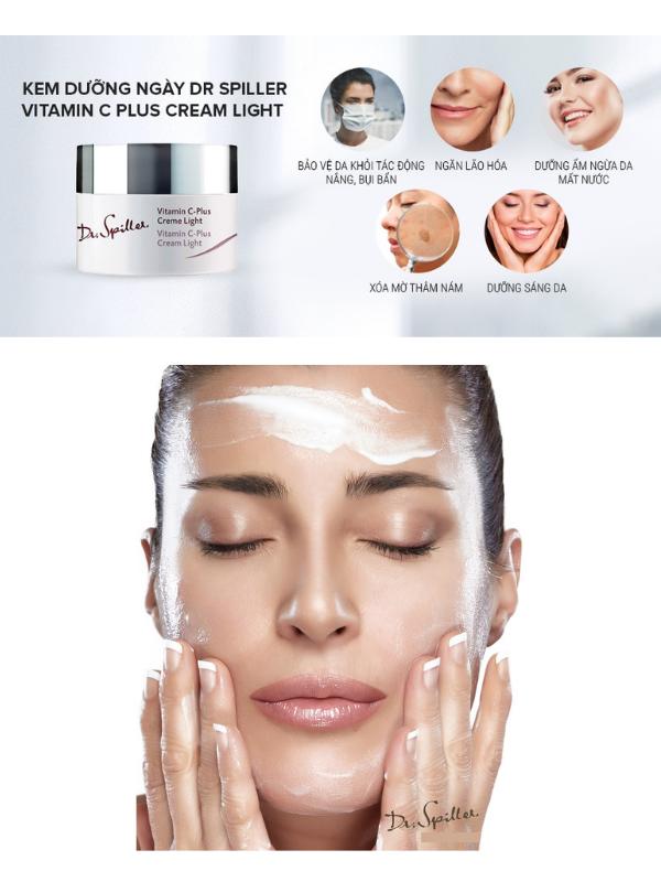 Dr Spiller Vitamin C Plus Cream Light vừa dưỡng ẩm, dưỡng trắng vừa chống oxy hoá da.