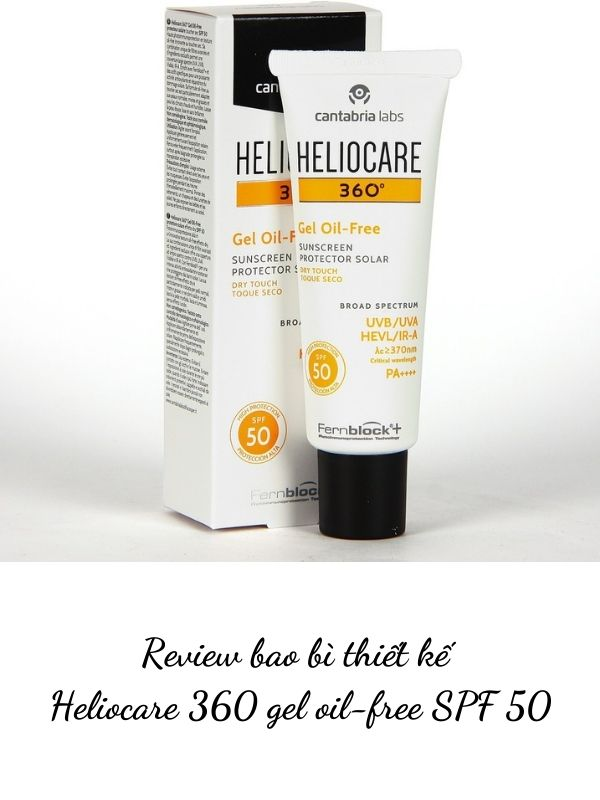 Review bao bì thiết kế Heliocare 360 gel oil-free SPF 50