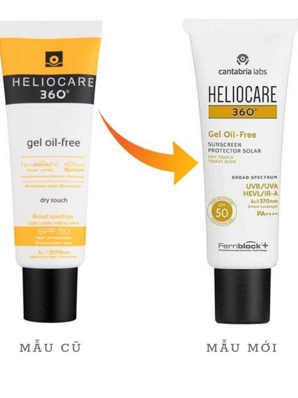 Mẫu cũ và mới của kem chống nắng Heliocare 360 gel oil-free SPF 50