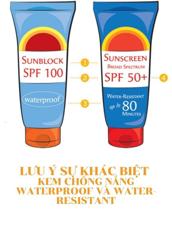 Lưu ý sự khác biệt giữa kem chống nắng gắn mác Waterproof và Water-resistant