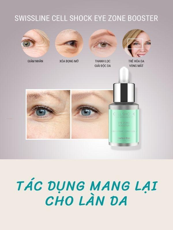 Swissline Cell Shock Eye Zone Booster mang lại nhiều tác dụng chăm sóc da vùng mắt