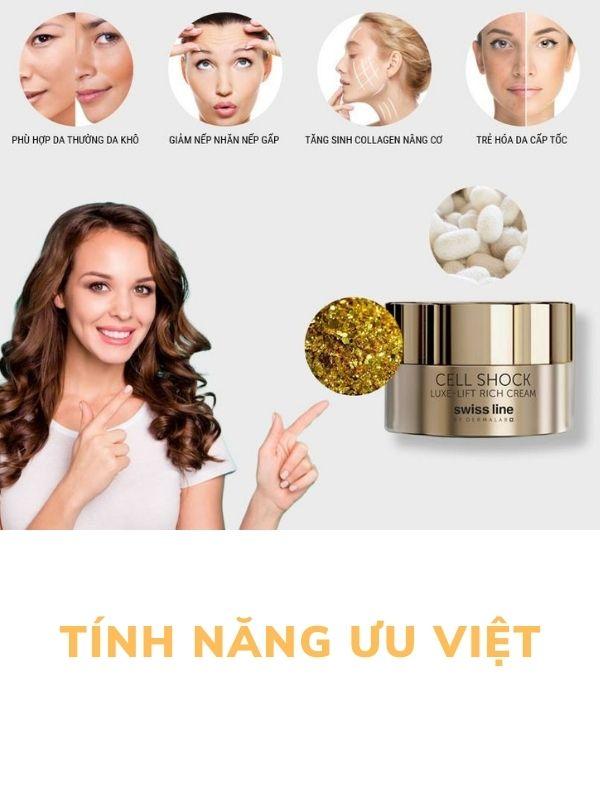 Swissline Cell Shock Luxe-Lift Rich Cream sở hữu những tính năng ưu việt
