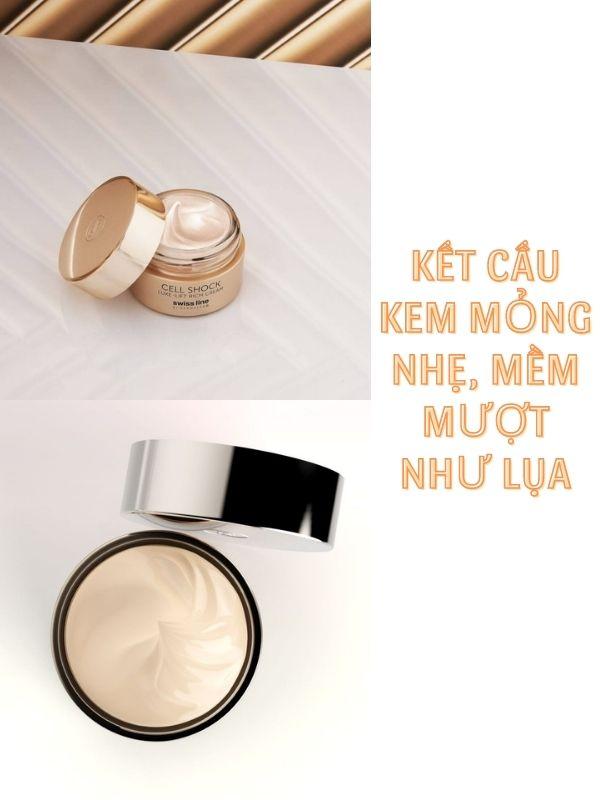 Swissline Cell Shock Luxe-Lift Rich Cream có kết cấu kem mỏng nhẹ, thấm nhanh vào da